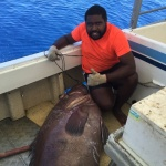 Isaac with a 90 KG eight bar grouper